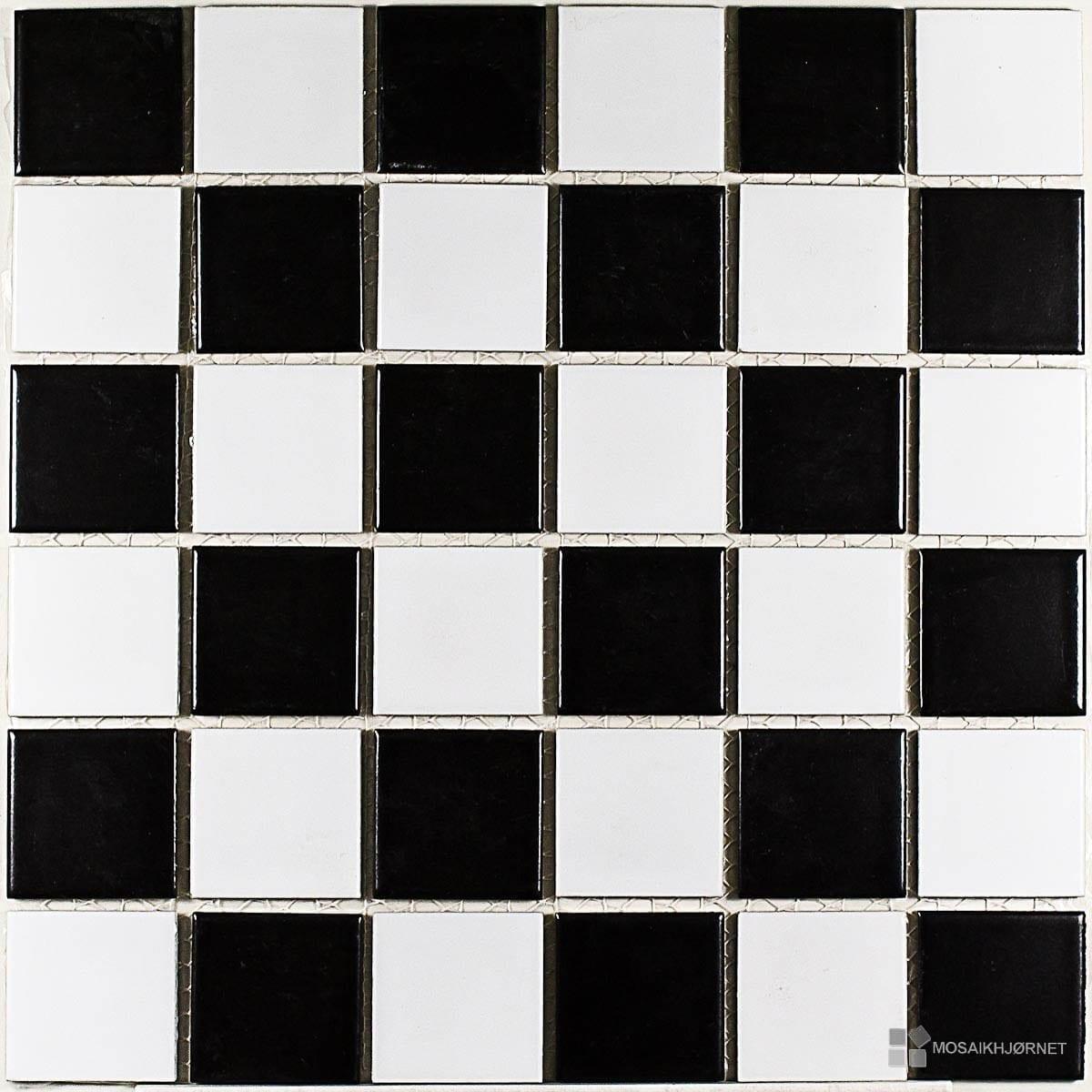 #595146 Mest effektive 5x5 Mimo 99 Skaktern Sort/Hvid Mosaikhjørnet Fliser Klinker Og Mosaik Ti  Fliser Til Bad Og Køkken 4805 120012004805