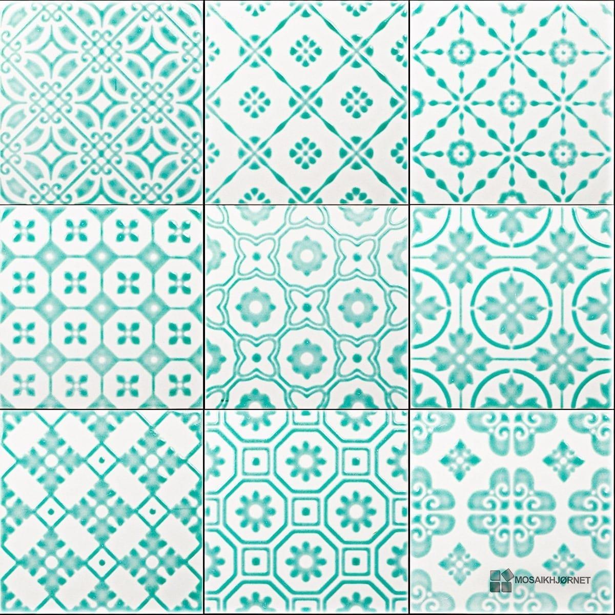 #089E89 Mest effektive 20x20 Bon Ton Grøn På Hvid Mosaikhjørnet Fliser Klinker Og Mosaik Til Ba  Fliser Til Bad Og Køkken 4805 120012004805