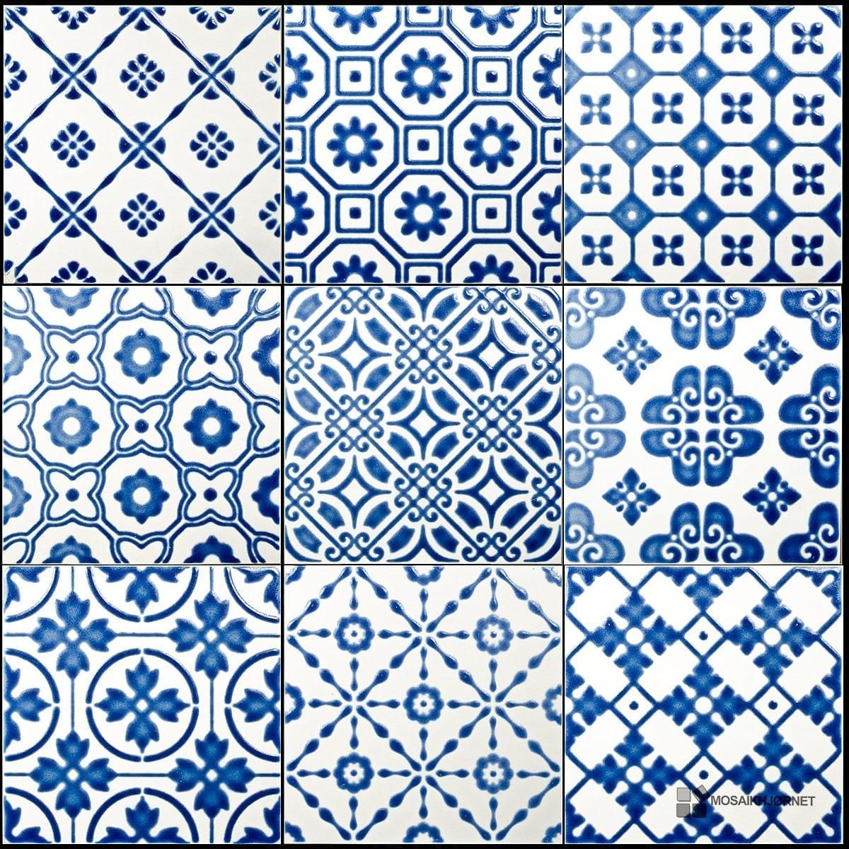 #063385 Mest effektive 20x20 Bon Ton Blå På Hvid Mosaikhjørnet Fliser Klinker Og Mosaik Til Bad  Fliser Til Bad Og Køkken 4805 120012004805
