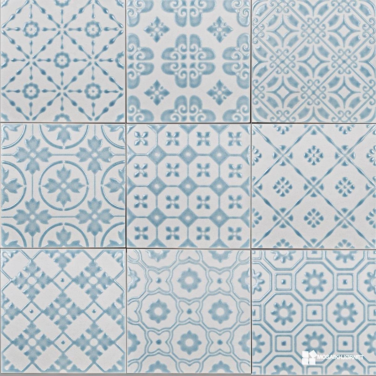#457086 Mest effektive 20x20 Bon Ton Turkis På Hvid Mosaikhjørnet Fliser Klinker Og Mosaik Til  Fliser Til Bad Og Køkken 4805 120012004805