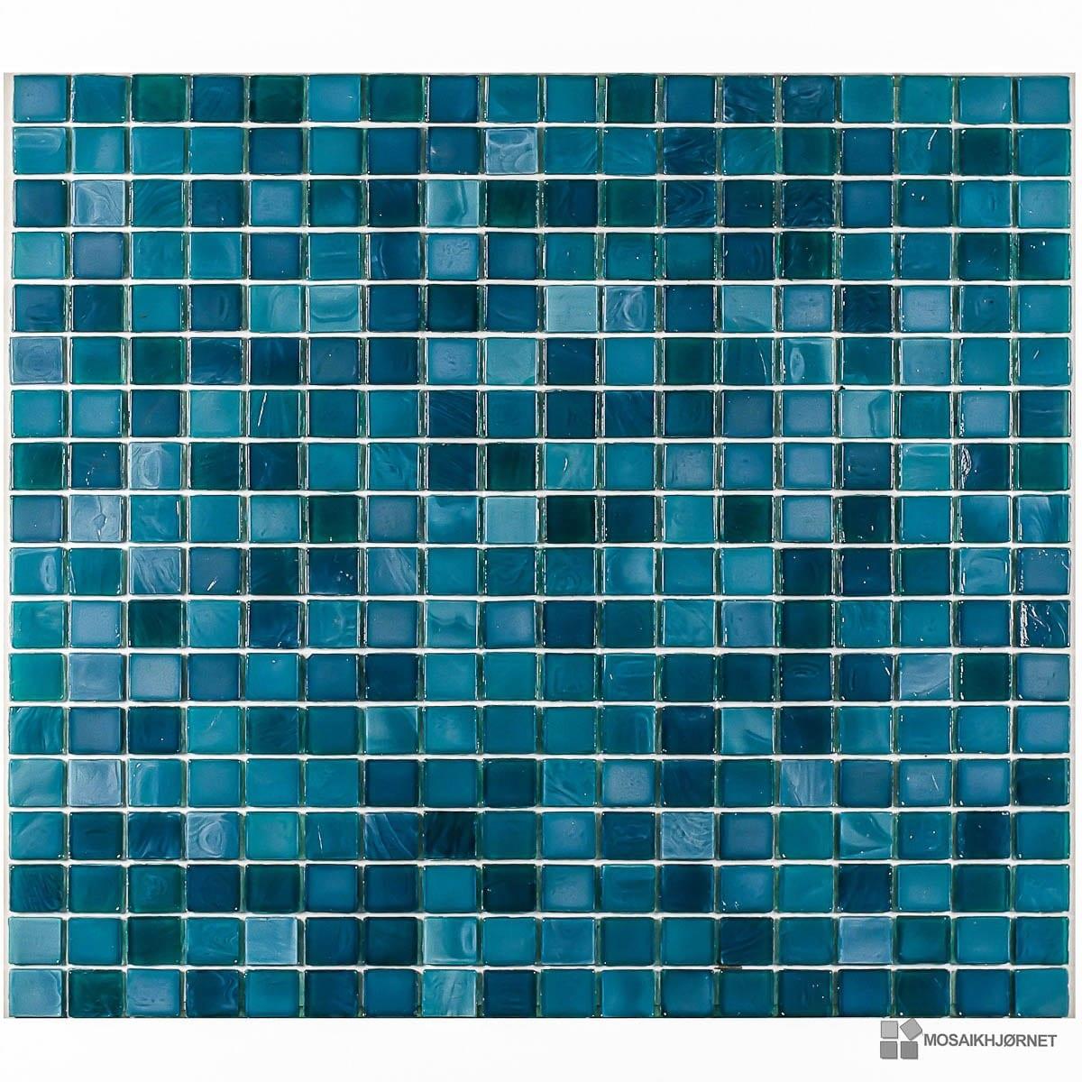 Glasmosaik petrolium 1 5x1 5 mosaikhj rnet fliser - Mosaik fliesen turkis ...