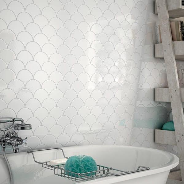 vægfliser badeværelse Shiro hvid 12x12   Mosaikhjør  Fliser, klinker og mosaik til  vægfliser badeværelse