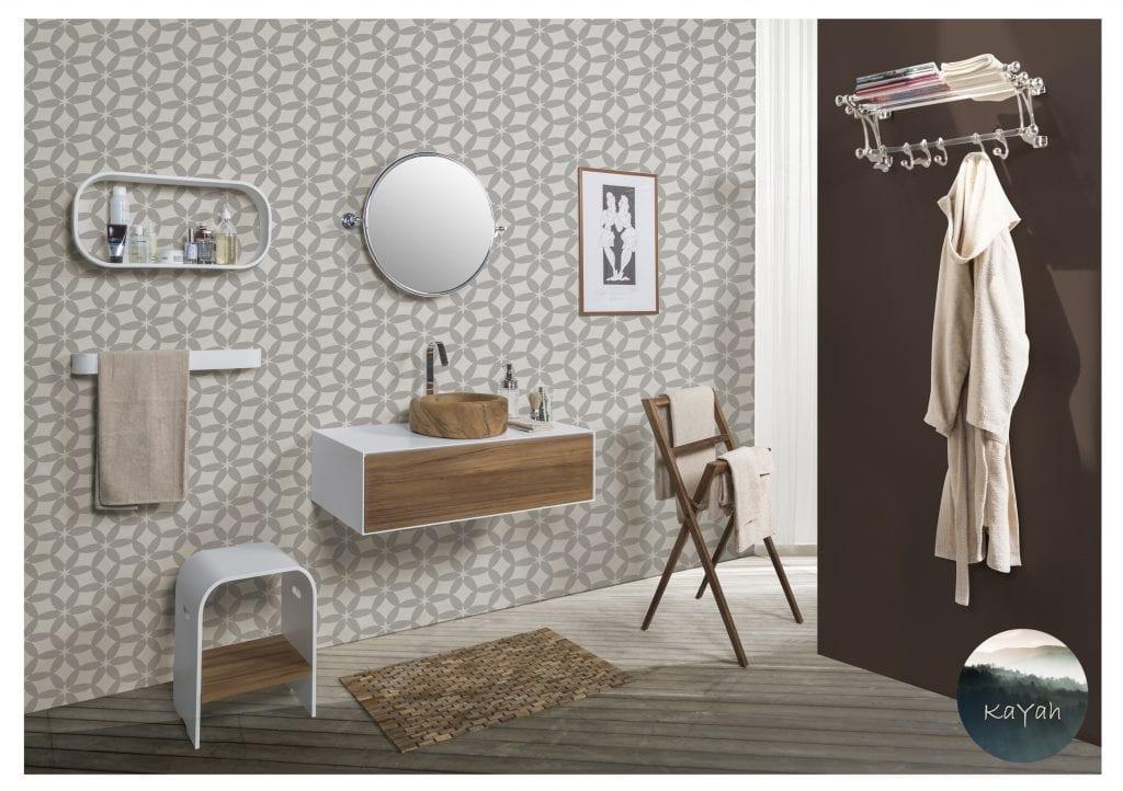 kayah natura vægkonsol træ badmøbel badeværelsesindretning