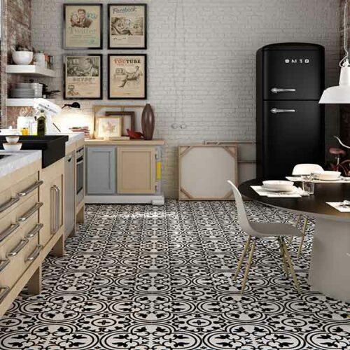 New York pattern sort hvid klinke moenster flise fliser klinker gulvflise gulvfliser gulvklinke gulvklinker
