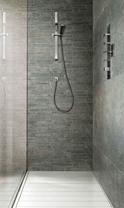 Loke grey mosaik badevaerelse bruseniche