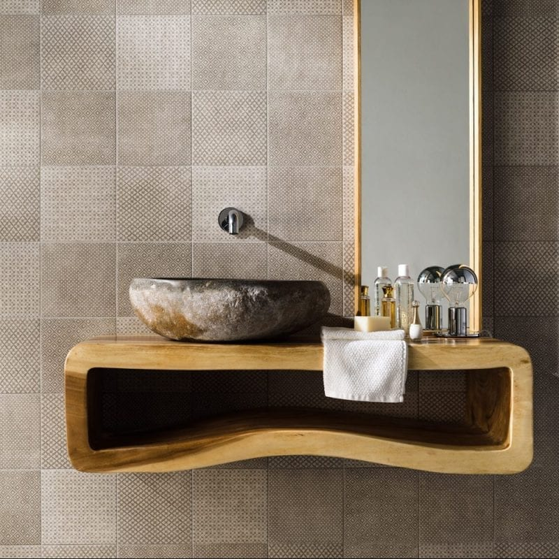 Fringe Deco Grå, Flise til gulv og væg. Mønstrede fliser, gulvfliser, vægfliser.